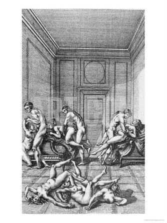 Orgy, Illustration from Histoire de Juliette by the Marquis de Sade, 1797 art.com