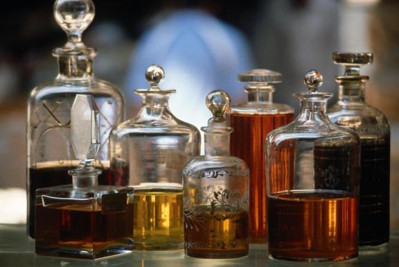 Display Of Perfume Bottles In Market