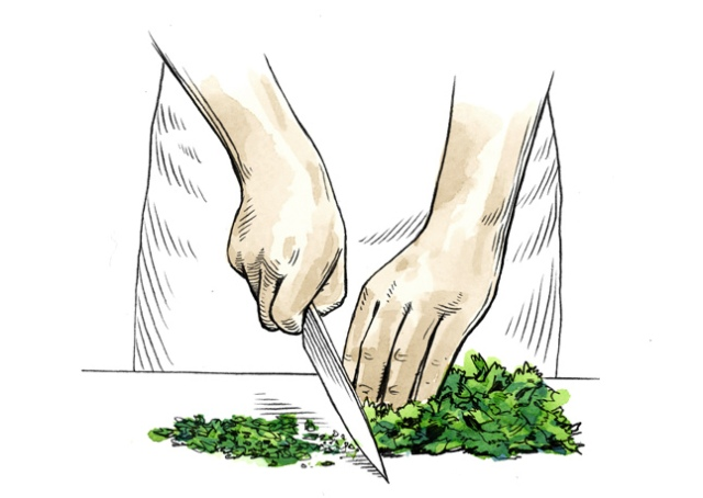 how-to-chop-herbs bonappetit.com